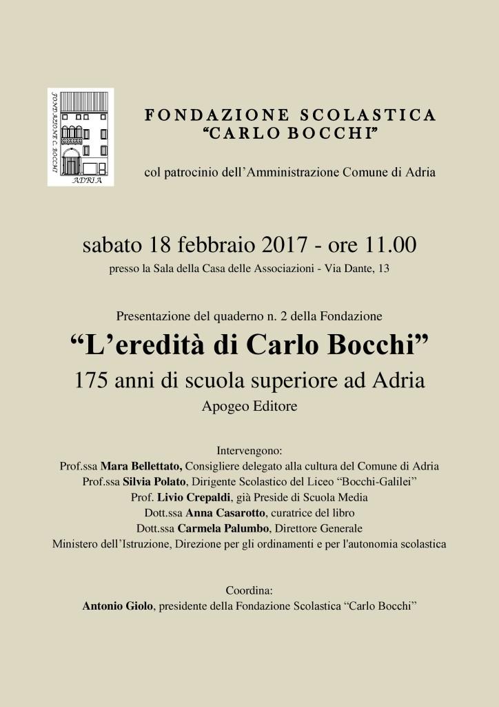 Locandina L'eredità di Carlo Bocchi